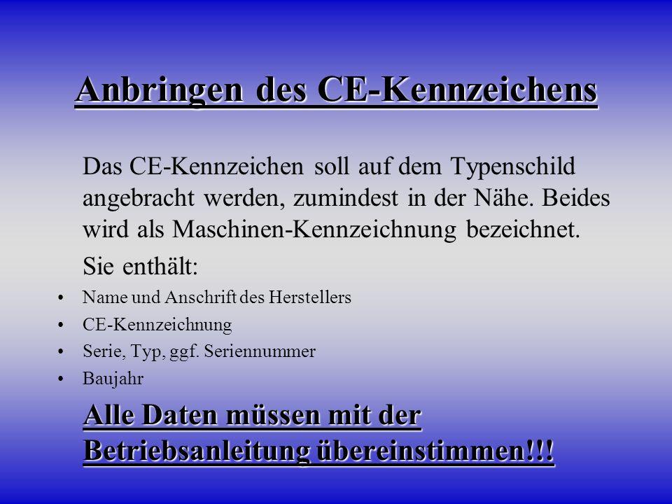 Anbringen des CE-Kennzeichens