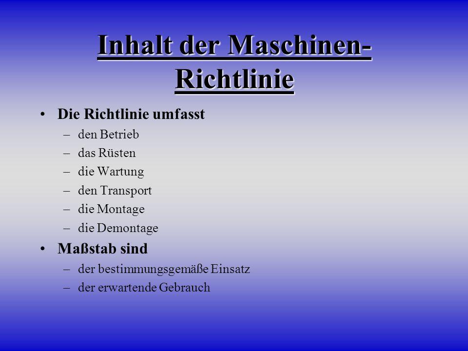 Inhalt der Maschinen-Richtlinie