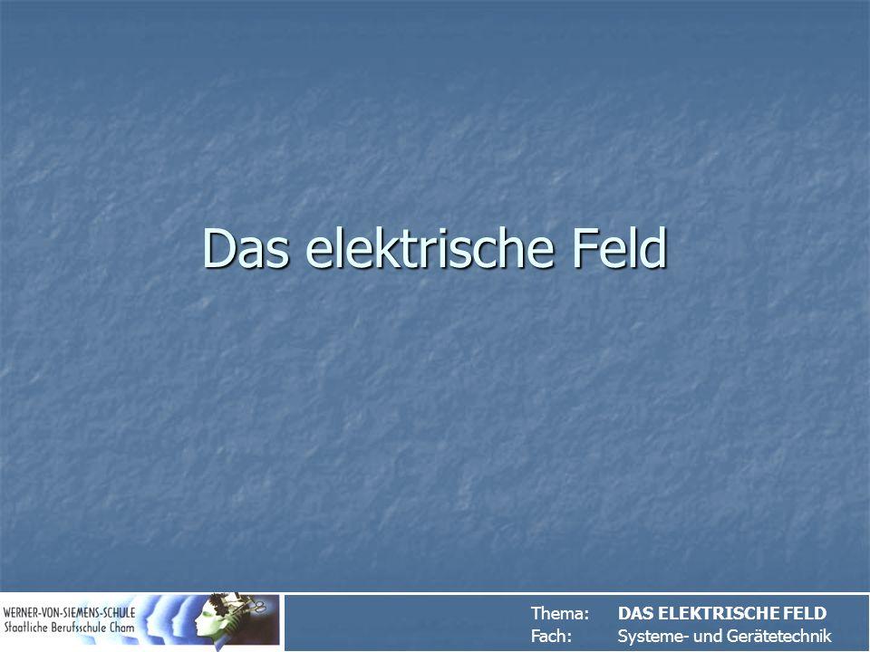 Das elektrische Feld Thema: DAS ELEKTRISCHE FELD
