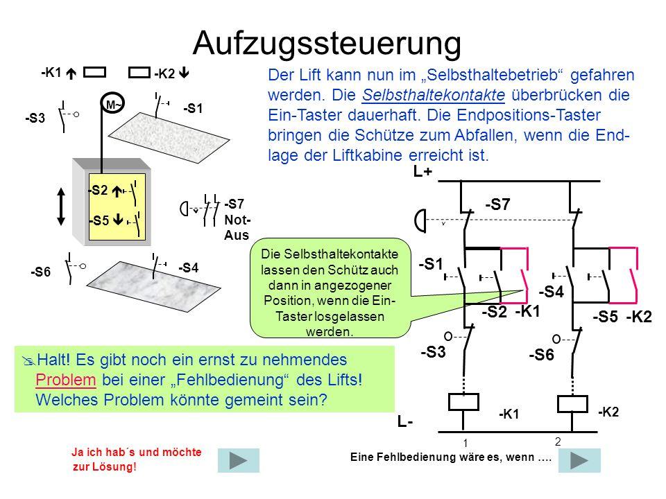 """Aufzugssteuerung -K1  -K2  Der Lift kann nun im """"Selbsthaltebetrieb gefahren werden. Die Selbsthaltekontakte überbrücken die."""