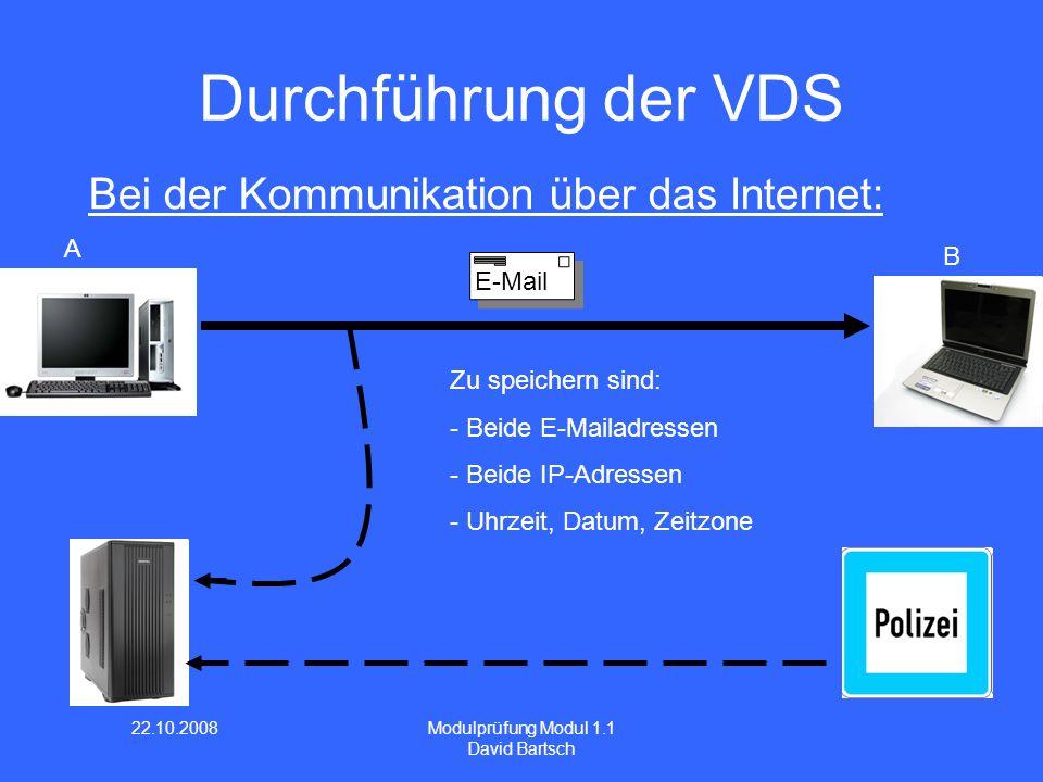 Durchführung der VDS Bei der Kommunikation über das Internet: A B
