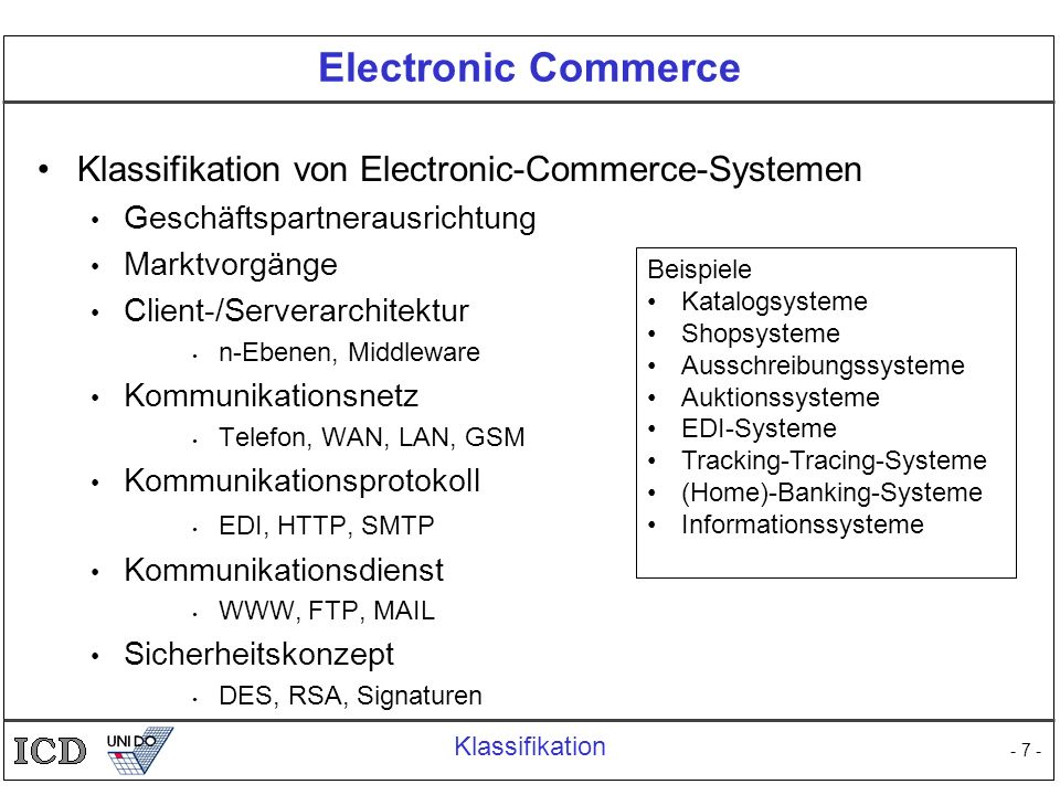 Electronic Commerce Klassifikation von Electronic-Commerce-Systemen