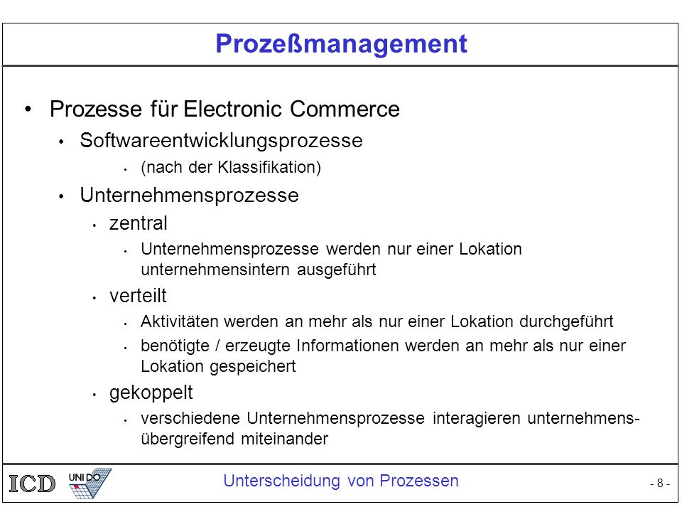 Prozeßmanagement Prozesse für Electronic Commerce