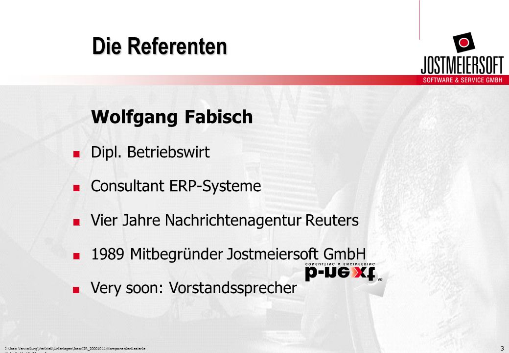 Die Referenten Wolfgang Fabisch Dipl. Betriebswirt