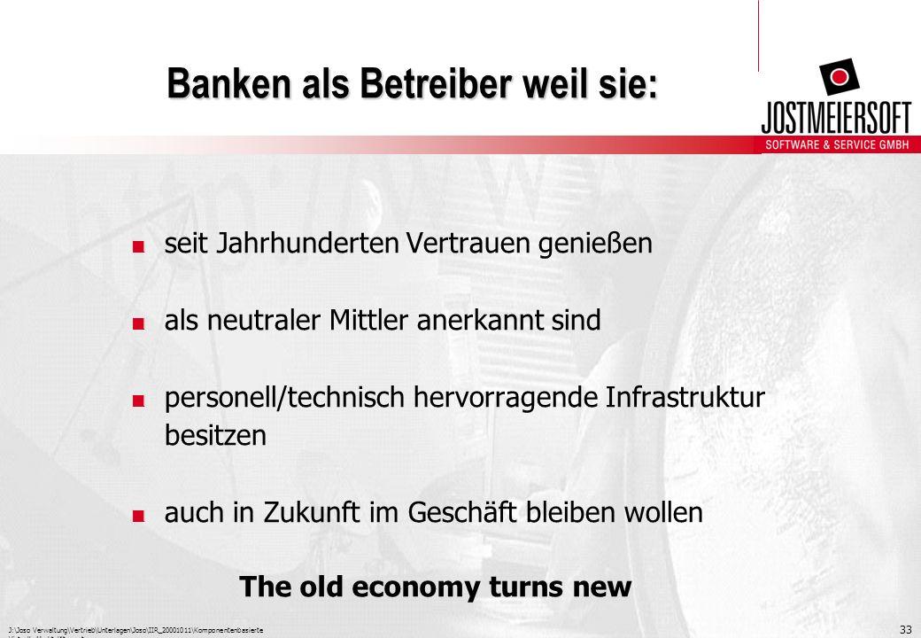 Banken als Betreiber weil sie: