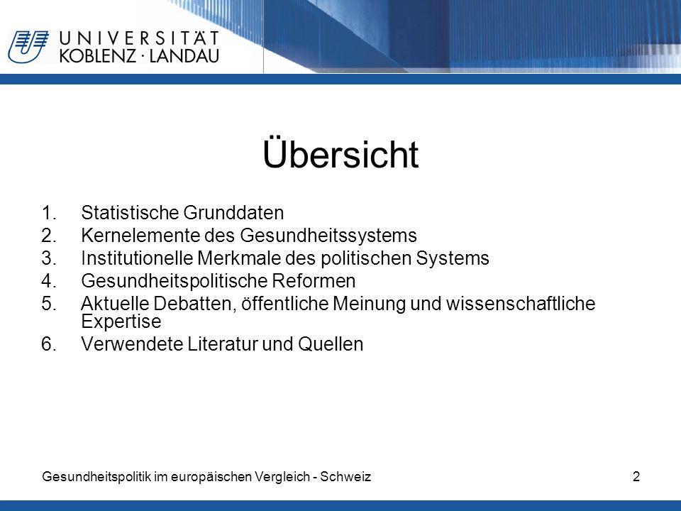 Übersicht Statistische Grunddaten Kernelemente des Gesundheitssystems