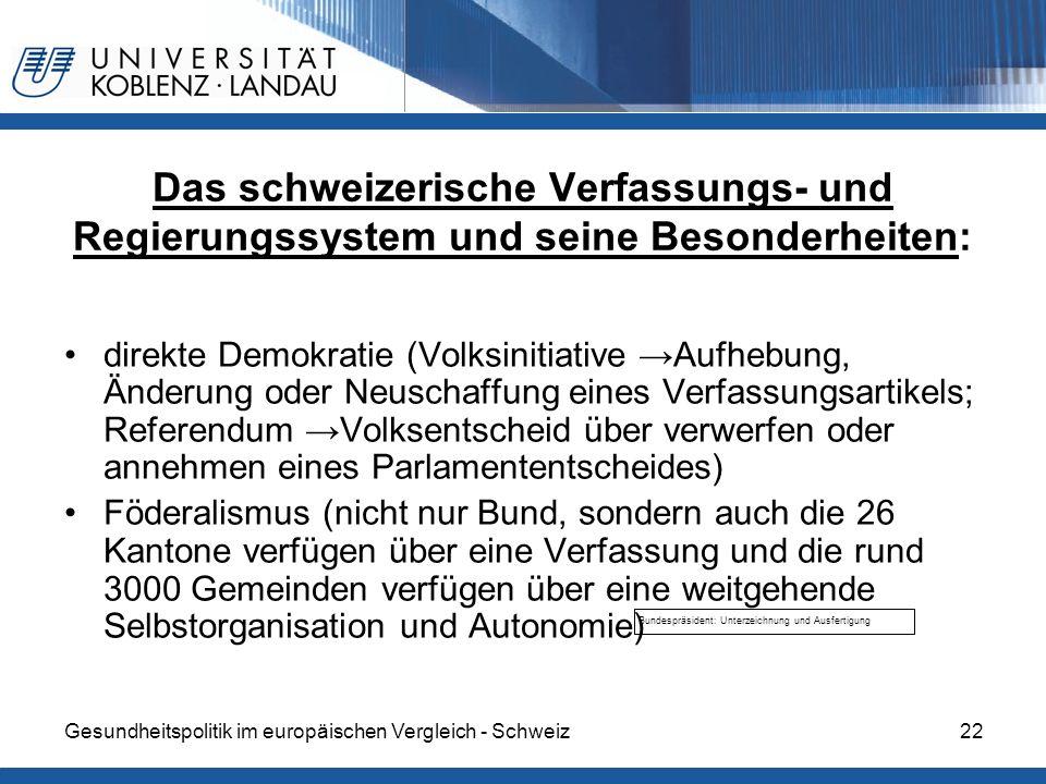 Das schweizerische Verfassungs- und Regierungssystem und seine Besonderheiten:
