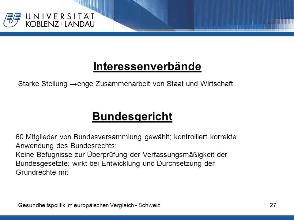 Interessenverbände Bundesgericht