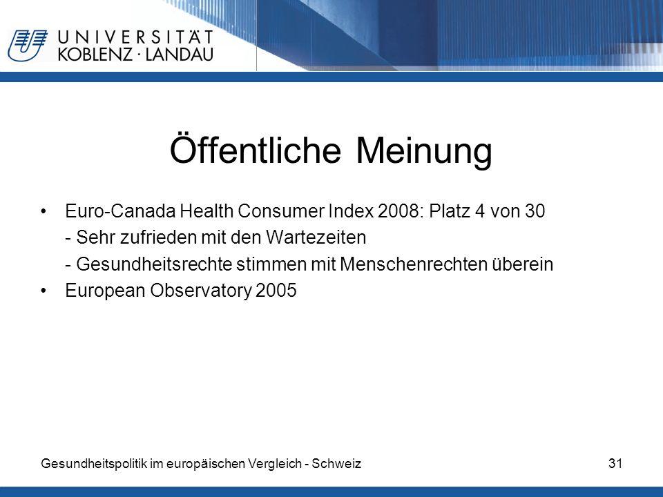 Öffentliche Meinung Euro-Canada Health Consumer Index 2008: Platz 4 von 30. - Sehr zufrieden mit den Wartezeiten.