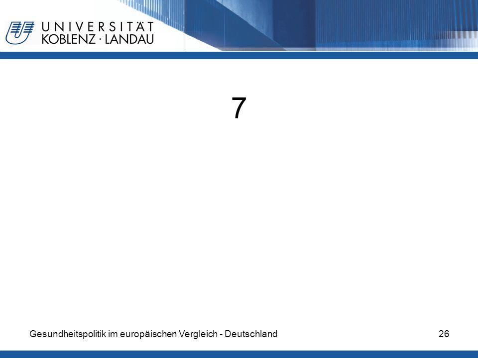 7 Gesundheitspolitik im europäischen Vergleich - Deutschland
