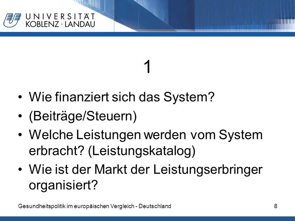 1 Wie finanziert sich das System (Beiträge/Steuern)