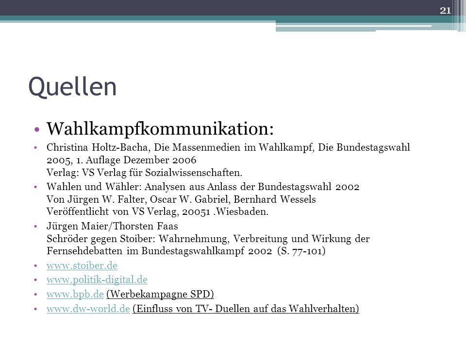 Quellen Wahlkampfkommunikation: