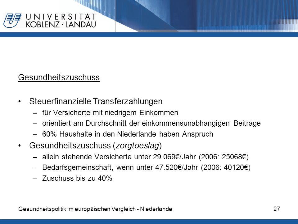 Steuerfinanzielle Transferzahlungen