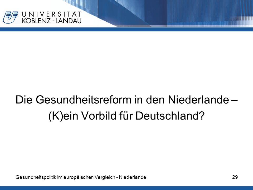 Die Gesundheitsreform in den Niederlande – (K)ein Vorbild für Deutschland