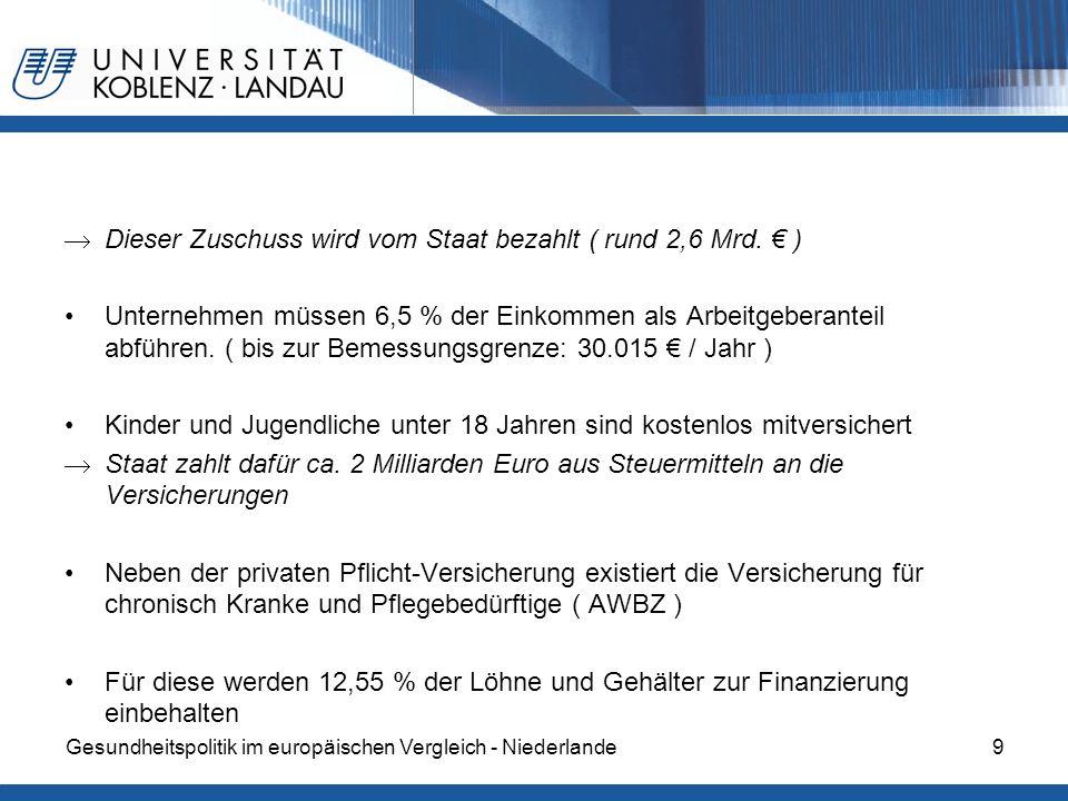 Dieser Zuschuss wird vom Staat bezahlt ( rund 2,6 Mrd. € )