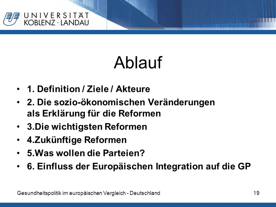 Ablauf 1. Definition / Ziele / Akteure