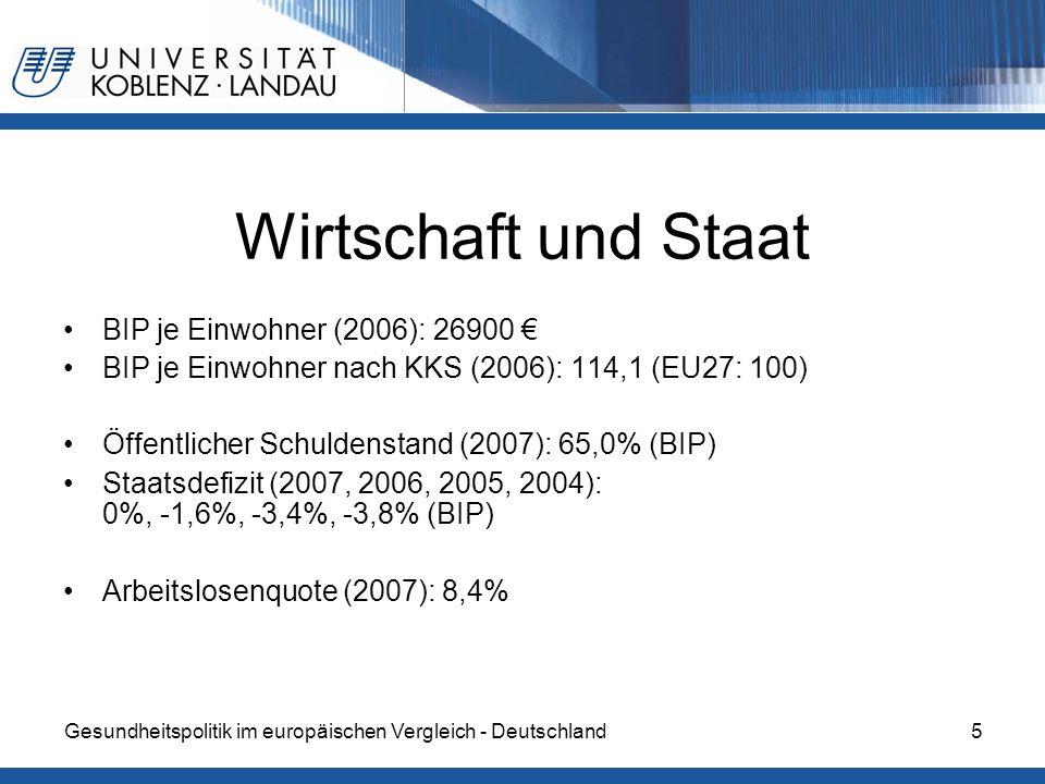 Wirtschaft und Staat BIP je Einwohner (2006): 26900 €