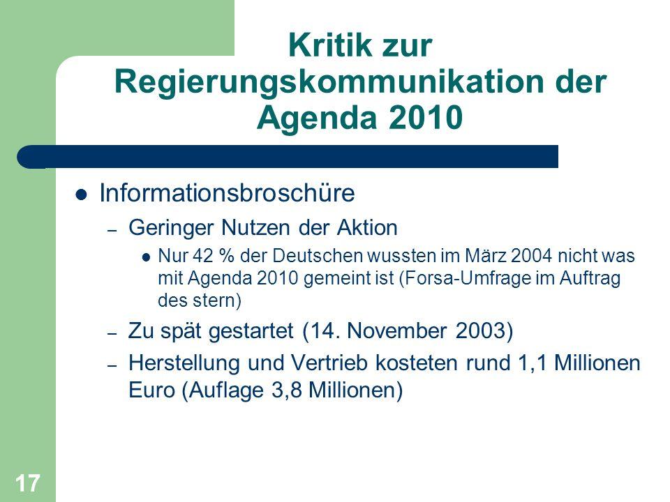 Kritik zur Regierungskommunikation der Agenda 2010
