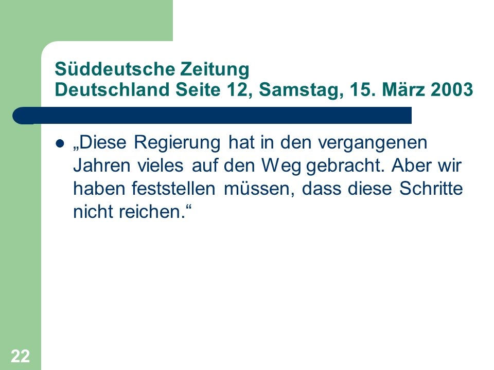 Süddeutsche Zeitung Deutschland Seite 12, Samstag, 15. März 2003