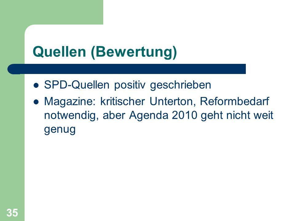 Quellen (Bewertung) SPD-Quellen positiv geschrieben