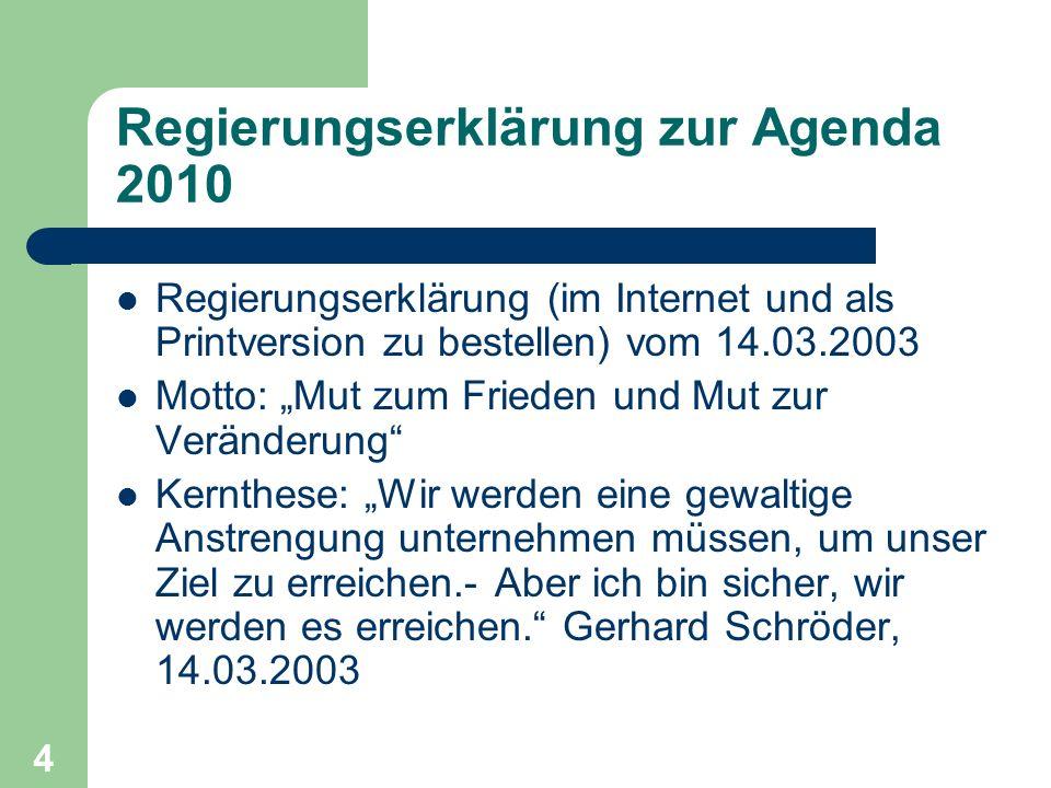 Regierungserklärung zur Agenda 2010