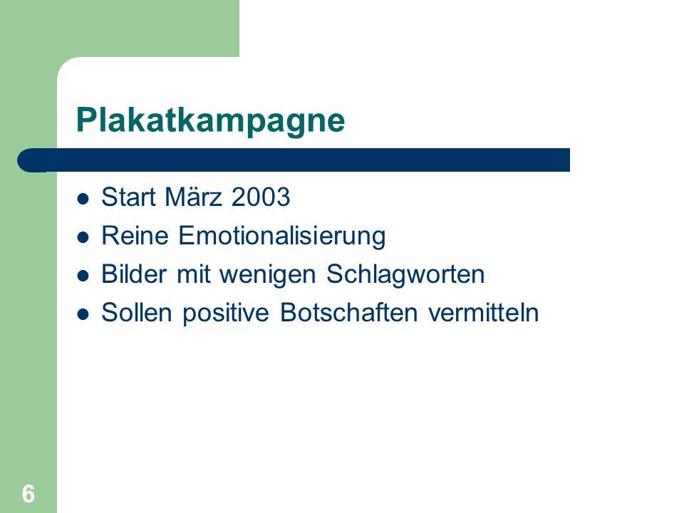 Plakatkampagne Start März 2003 Reine Emotionalisierung