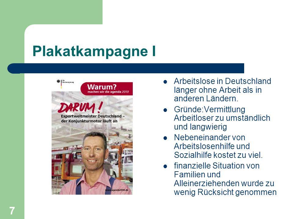 Plakatkampagne I Arbeitslose in Deutschland länger ohne Arbeit als in anderen Ländern. Gründe:Vermittlung Arbeitloser zu umständlich und langwierig.