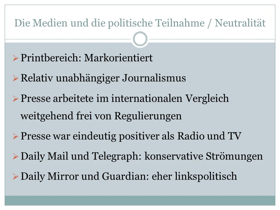Die Medien und die politische Teilnahme / Neutralität