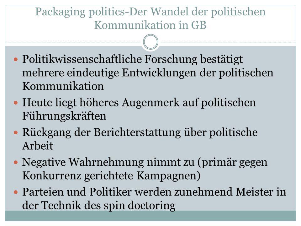 Packaging politics-Der Wandel der politischen Kommunikation in GB