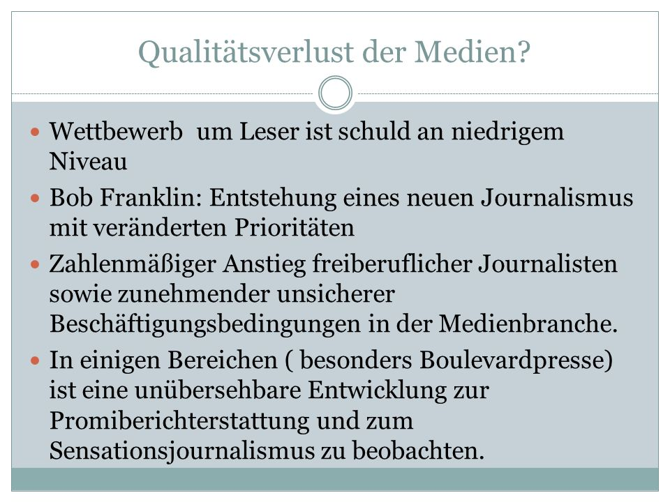 Qualitätsverlust der Medien