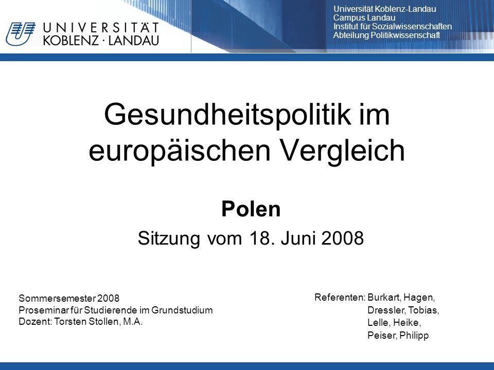 Gesundheitspolitik im europäischen Vergleich
