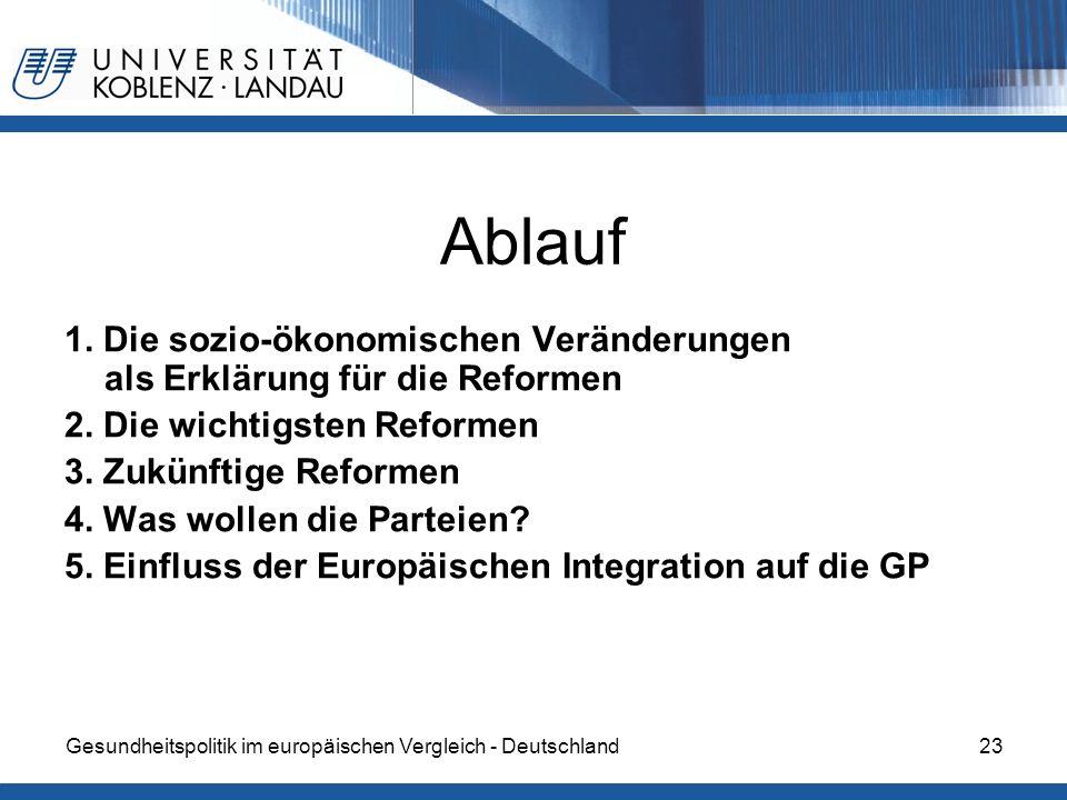 Ablauf 1. Die sozio-ökonomischen Veränderungen als Erklärung für die Reformen. 2. Die wichtigsten Reformen.