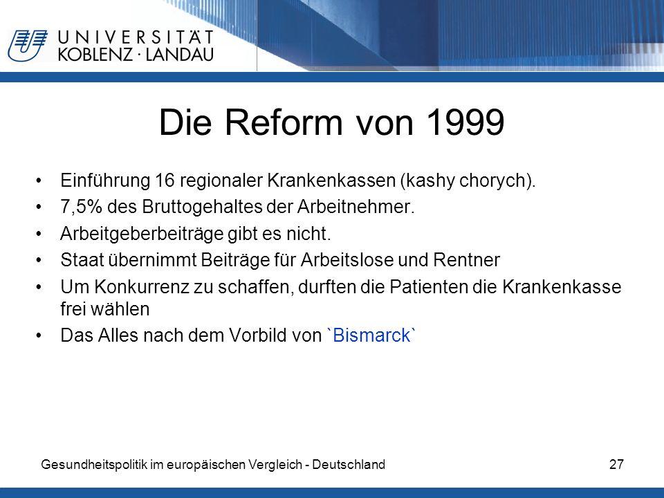Die Reform von 1999Einführung 16 regionaler Krankenkassen (kashy chorych). 7,5% des Bruttogehaltes der Arbeitnehmer.