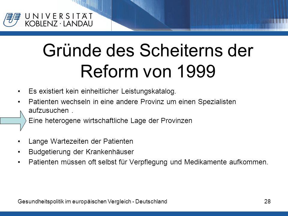 Gründe des Scheiterns der Reform von 1999