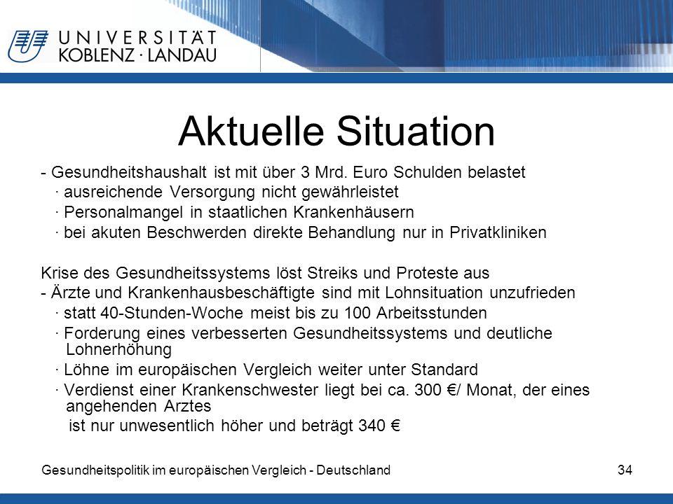 Aktuelle Situation- Gesundheitshaushalt ist mit über 3 Mrd. Euro Schulden belastet. ∙ ausreichende Versorgung nicht gewährleistet.