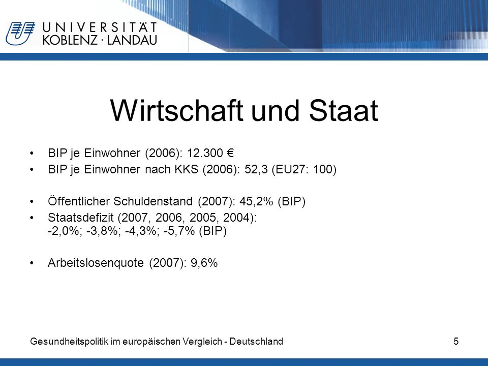 Wirtschaft und Staat BIP je Einwohner (2006): 12.300 €