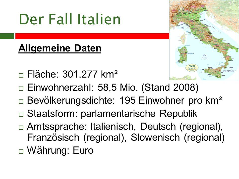 Der Fall Italien Allgemeine Daten Fläche: 301.277 km²