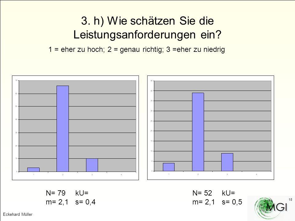 3. h) Wie schätzen Sie die Leistungsanforderungen ein