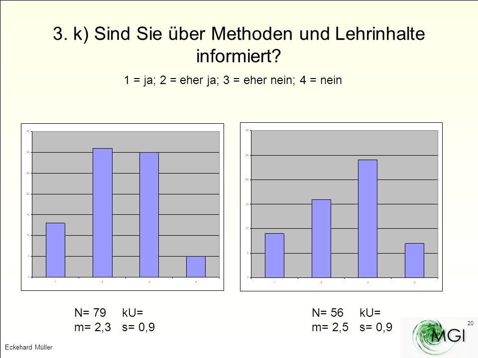 3. k) Sind Sie über Methoden und Lehrinhalte informiert