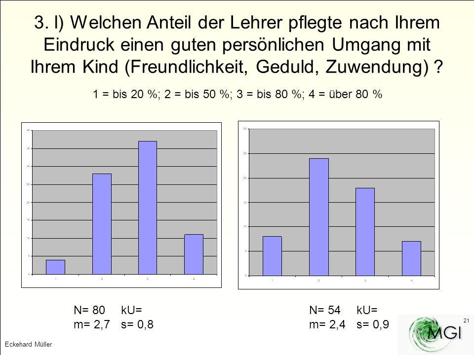 3. l) Welchen Anteil der Lehrer pflegte nach Ihrem Eindruck einen guten persönlichen Umgang mit Ihrem Kind (Freundlichkeit, Geduld, Zuwendung)