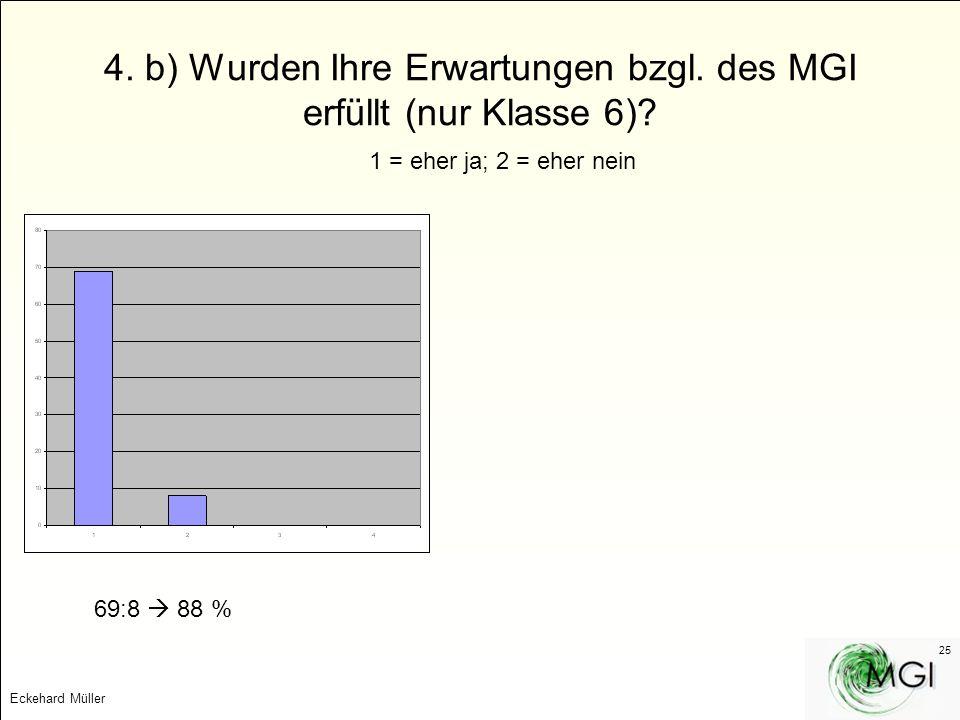 4. b) Wurden Ihre Erwartungen bzgl. des MGI erfüllt (nur Klasse 6)