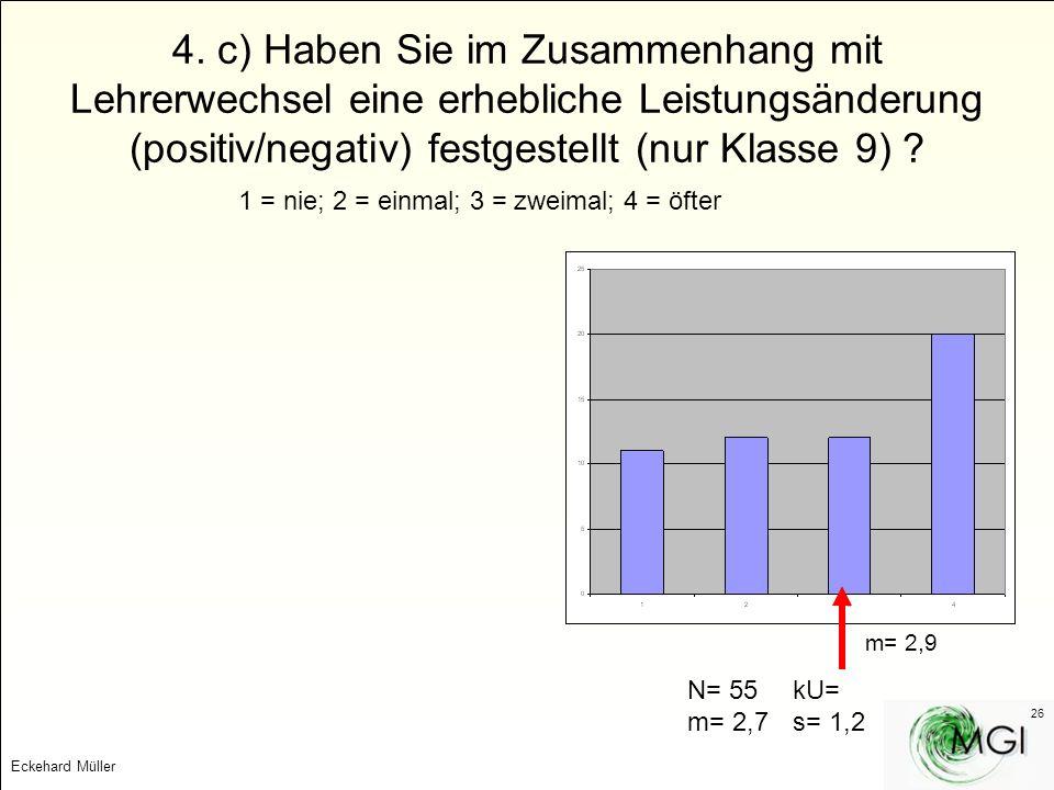 4. c) Haben Sie im Zusammenhang mit Lehrerwechsel eine erhebliche Leistungsänderung (positiv/negativ) festgestellt (nur Klasse 9)
