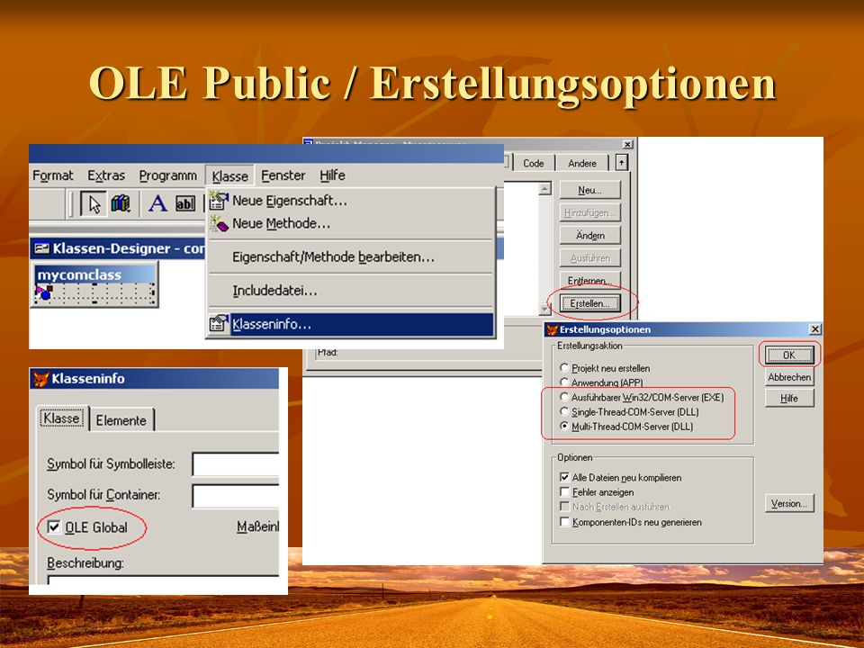 OLE Public / Erstellungsoptionen