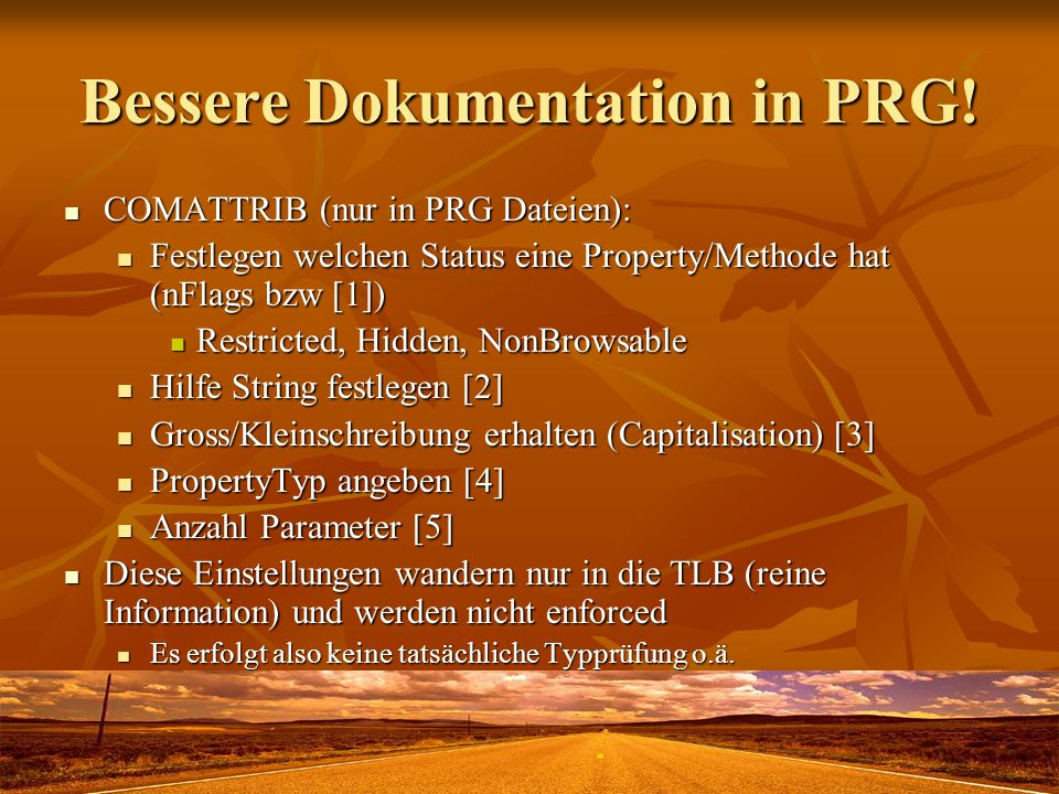 Bessere Dokumentation in PRG!