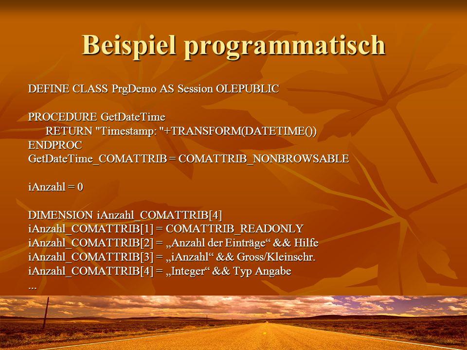 Beispiel programmatisch