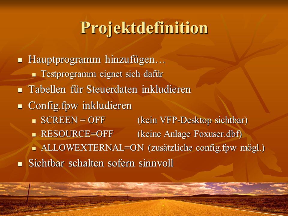 Projektdefinition Hauptprogramm hinzufügen…
