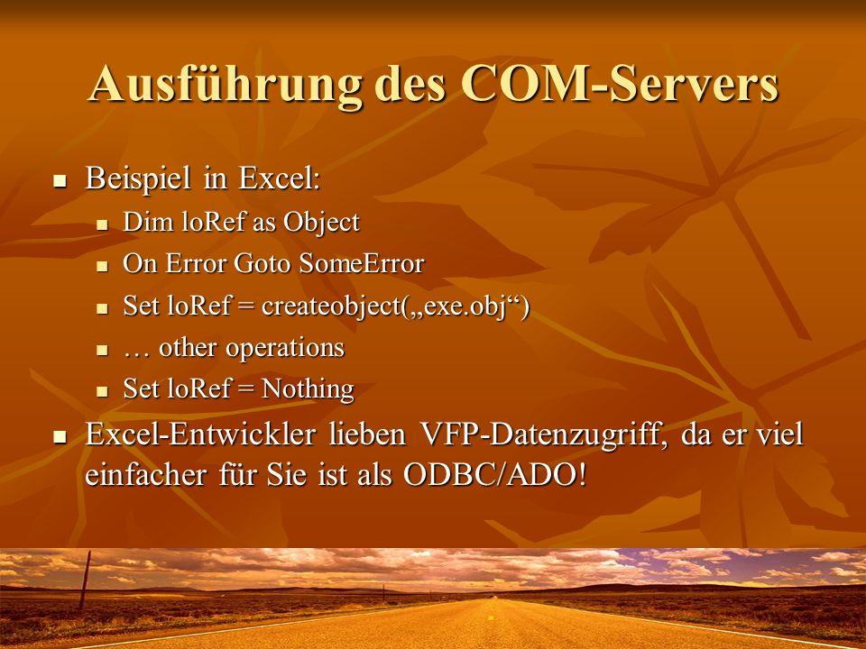 Ausführung des COM-Servers