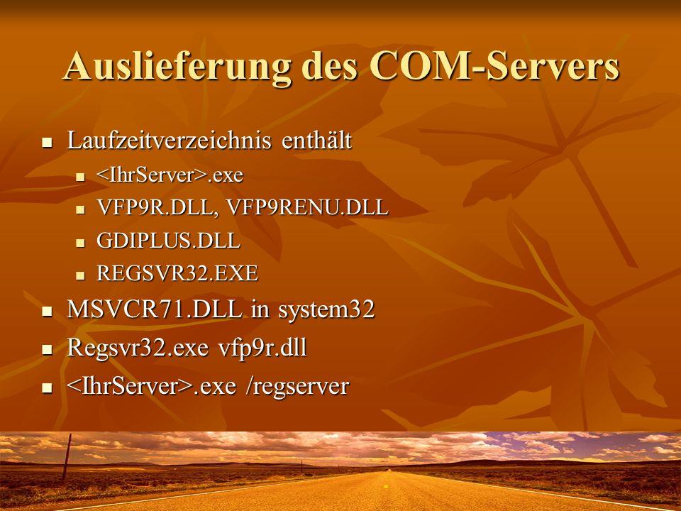 Auslieferung des COM-Servers