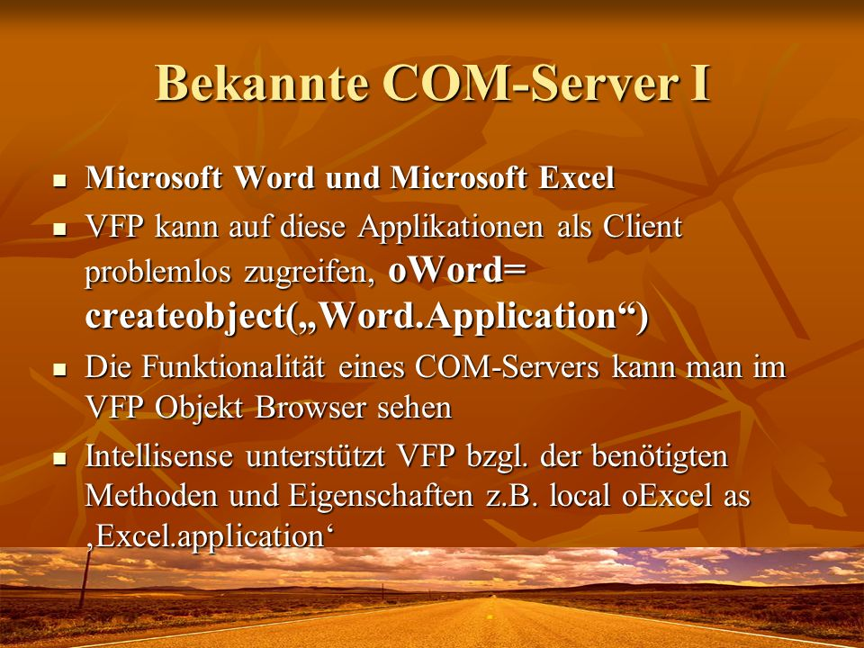 Bekannte COM-Server I Microsoft Word und Microsoft Excel