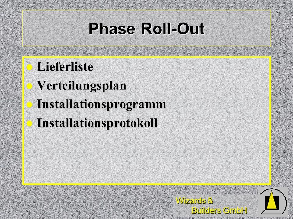 Phase Roll-Out Lieferliste Verteilungsplan Installationsprogramm